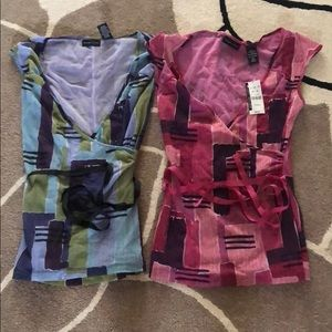 New York and Company Blue Pink Sleeveless Tops XS